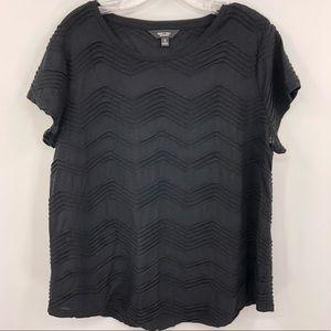 Vera Wang Women's XL Black Textured Blouse Top
